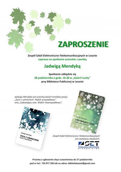 Zaproszenie na spotkanie z poetką Jadwigą Mendyką