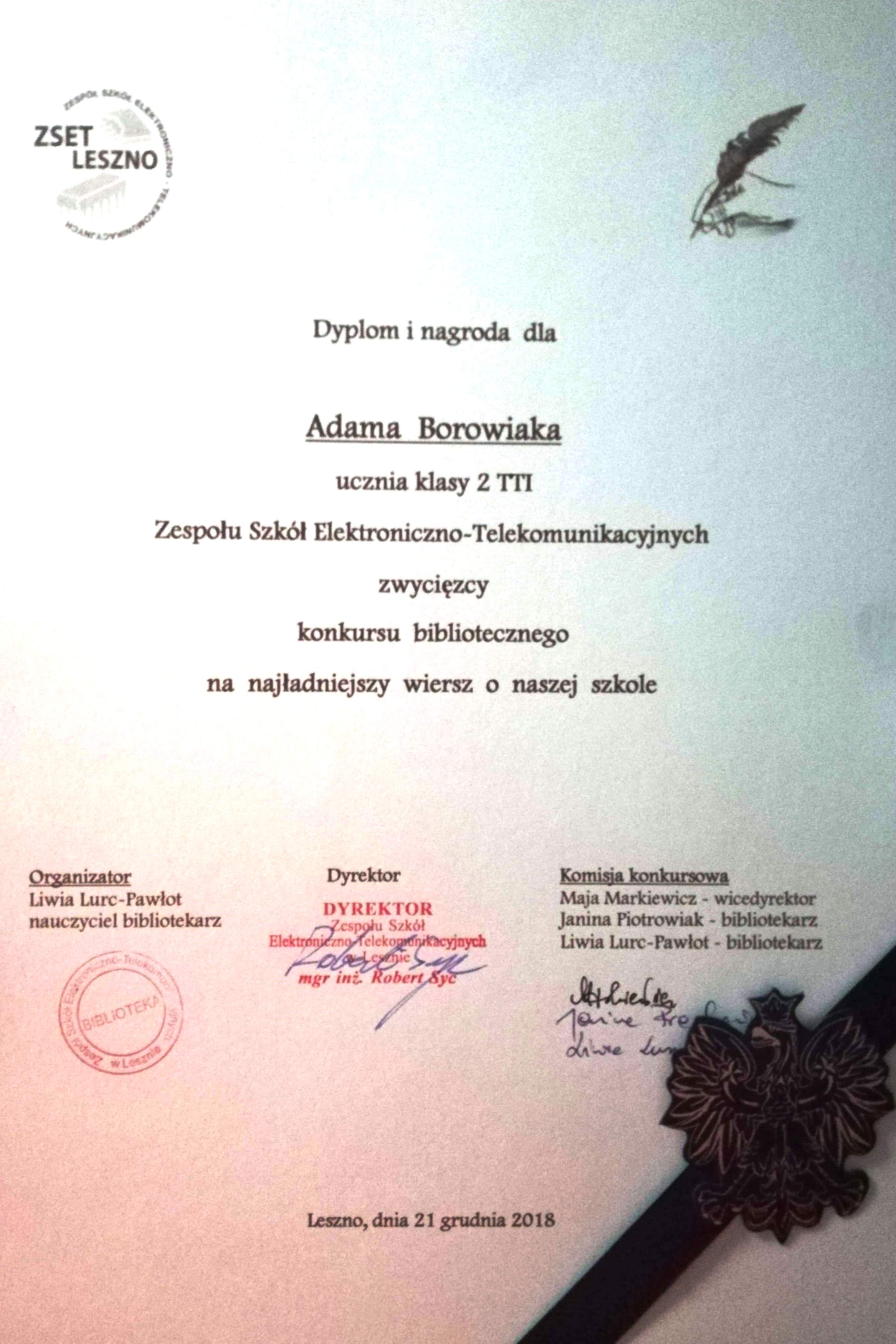 Wiersz O Szkole Konkurs Zespół Szkół Elektroniczno